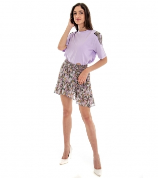Outfit Donna Completo T-shirt Tinta Unita Gonna Lilla Floreale GIOSAL