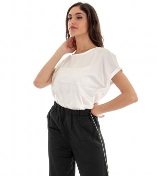 Outfit Donna Completo T-shirt Tinta Unita Bianco Pantalone Palazzo Nero  GIOSAL