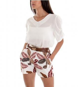 Outfit Shorts Donna Completo T-Shirt Pantaloncino Corto Fondo Bianco Foglie GIOSAL