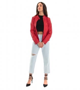 Outfit Donna Completo Giubbotto Ecopelle Rosso Jeans Chiaro Rotture GIOSAL