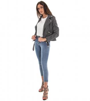Outfit Donna Giubbotto Chiodo Grigio Pantalone Skinny Jeans GIOSAL