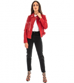 Outfit Donna Giubbotto Ecopelle Chiodo Rosso Jeans Nero Rotture GIOSAL