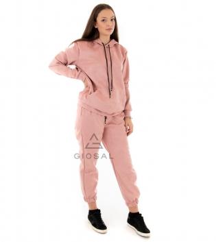 Completo Donna Tuta Camoscio Tinta Unita Rosa Felpa Pantalone Cappuccio Elastico Coulisse GIOSAL