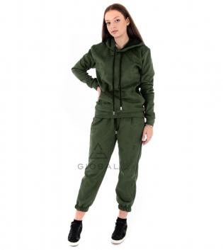 Completo Donna Tuta Camoscio Tinta Unita Verde Felpa Pantalone Cappuccio Elastico Coulisse GIOSAL