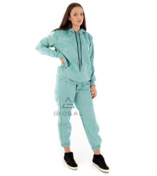 Completo Donna Tuta Camoscio Tinta Unita Verde Acqua Felpa Pantalone Cappuccio Elastico Coulisse GIOSAL