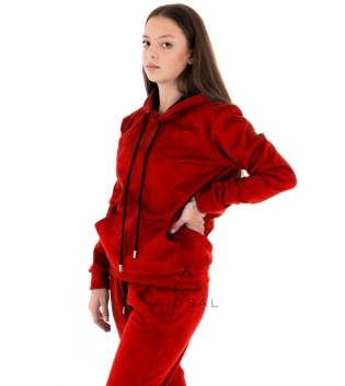 Completo Donna Tuta Camoscio Tinta Unita Rosso Felpa Pantalone Cappuccio Elastico Coulisse GIOSAL
