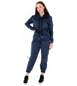 Completo Donna Tuta Camoscio Tinta Unita Blu Felpa Pantalone Cappuccio Elastico Coulisse GIOSAL
