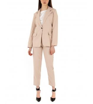 Tailleur Donna Completo Outfit Giacca Pantalone Tinta Unita Beige GIOSAL-Beige-TAGLIA UNICA