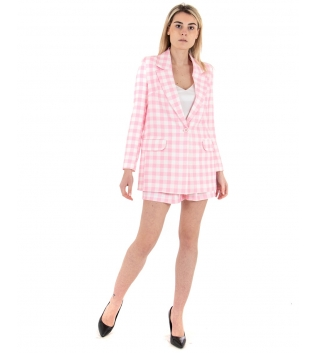 Outfit Donna Completo Giacca Shorts Rosa Quadretti Casual GIOSAL