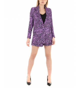 Outfit Donna Giacca Shorts Animalier Viola Casual Chic GIOSAL