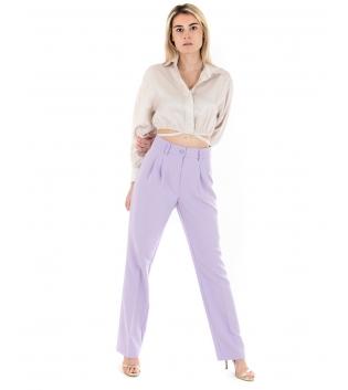 Outfit Donna Camicia Pantalone Eiki Tinta Unita Crop Palazzo Lilla Beige GIOSAL-Beige-XS