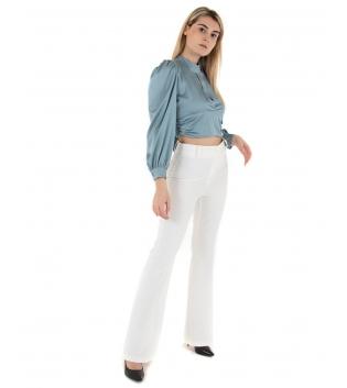 Outfit Donna Camicia Crop Scollata Pantalone Bianco Eiki Casual GIOSAL
