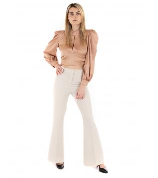 Outfit Donna Camicia Crop Scollata Pantalone Beige Eiki Casual GIOSAL-Beige-XS