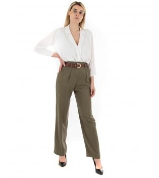 Outfit Donna Camicia Pantalone Eiki Tinta Unita Bianco Verde GIOSAL