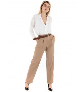 Outfit Donna Camicia Pantalone Eiki Tinta Unita Bianco Camel GIOSAL
