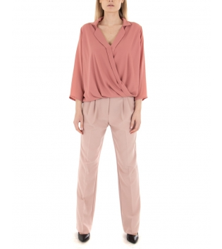 Outfit Donna Camicia Pantalone Rosa Eiki Palazzo Casual GIOSAL