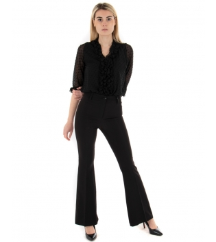 Outfit Donna Camicia Plumetis Pantalone Zampa Eiki Tinta Unita Nero GIOSAL