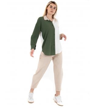 Outfit Donna Camicia Bicolore  Pantalone Beige Verde Casual GIOSAL-Beige-XS