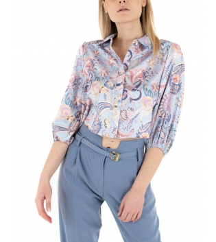 Outfit Donna Camicia Crop Floreale Pantalone Classico Azzurro Multicolore Casual GIOSAL