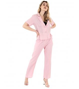 Completo Donna Outfit Lino Camicia Giacca Pantalone Elastico Tinta Unita Rosa GIOSAL