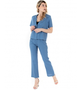 Completo Donna Outfit Lino Camicia Giacca Pantalone Elastico Tinta Unita Celeste GIOSAL