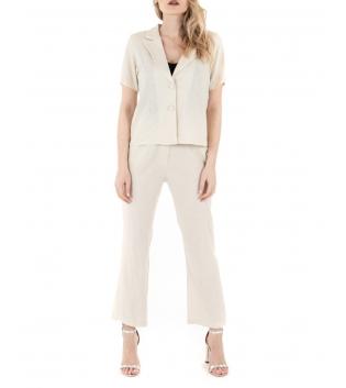 Completo Donna Outfit Lino Camicia Giacca Pantalone Elastico Tinta Unita Beige GIOSAL