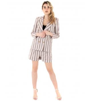 Completo Donna Outfit Eiki Rigato Beige Giacca Doppiopetto Shorts Vita Alta GIOSAL-Beige-S