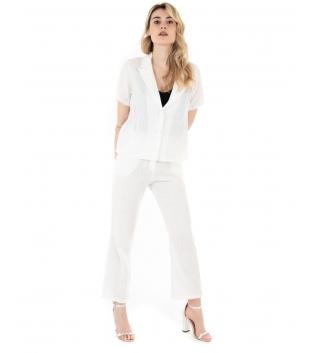 Completo Donna Outfit Lino Camicia Giacca Pantalone Elastico Tinta Unita Bianco GIOSAL