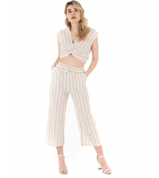 Completo Donna Outfit Rigato Cotone Bianco Beige Blusa Pantalone GIOSAL