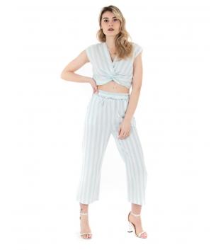 Completo Donna Outfit Rigato Cotone Bianco Celeste Blusa Pantalone GIOSAL