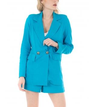 Completo Donna Outfit Short Giacca Tinta Unita Azzurro Casual GIOSAL