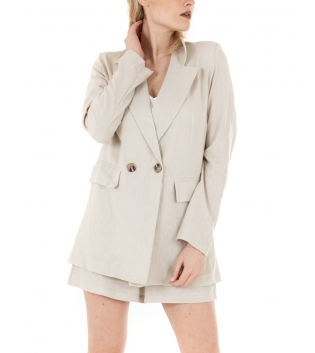 Completo Donna Outfit Short Giacca Tinta Unita Beige Casual GIOSAL-Beige-TAGLIA UNICA
