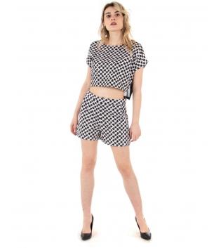Completo Donna Coordinato Outfit T-Shirt Shorts Fantasia Fiori Bicolore Casual GIOSAL