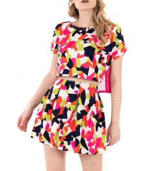 Completo Donna Coordinato Outfit T-Shirt Gonna Fantasia Geometrica Multicolore Casual GIOSAL