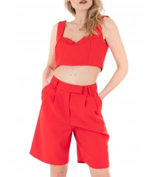 Outfit Donna Completo Eiki Coordinato Rosso Top Brassiere Spalline Casual GIOSAL