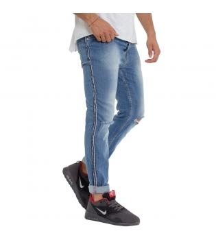 Pantalone Uomo MOD Riga Laterale Casual Jeans Cinque Tasche Rotture GIOSAL