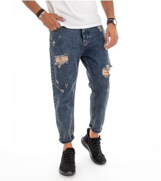 Jeans Uomo Pantalone Rotture Cinque Tasche Sfumato Vintage Denim Casual GIOSAL