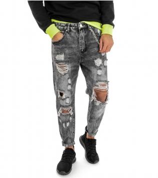 Pantalone Uomo Jeans Grigio Cinque Tasche Rotture Cavallo Basso Strappato Regular Fit GIOSAL-Grigio-48