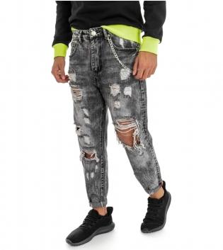 Pantalone Uomo Jeans Grigio Cinque Tasche Rotture Cavallo Basso Strappato Regular Fit GIOSAL