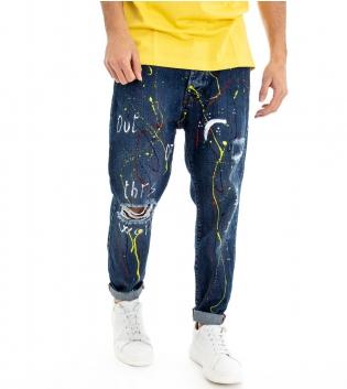 Jeans Uomo Pantalone Denim Cinque Tasche Macchie Di Pittura Colorate Stampa Cavallo Basso Rotture GIOSAL