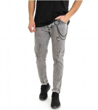 Jeans Uomo Pantalone Cinque Tasche Slim Denim Grigio Effetto Marmorizzato Rotture GIOSAL-Grigio-42