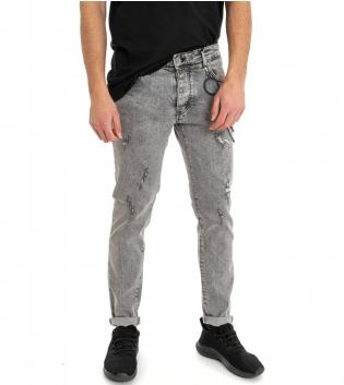Jeans Uomo Pantalone Cinque Tasche Slim Denim Grigio Effetto Marmorizzato Rotture GIOSAL