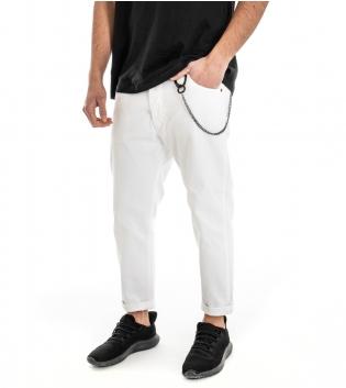 Pantalone Uomo Jeans Bianco Cinque Tasche Cavallo Basso Cotone Tinta Unita GIOSAL