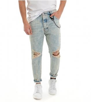 Jeans Pantalone Uomo Denim Effetto Sabbiato Rotture Cinque Tasche Cotone GIOSAL