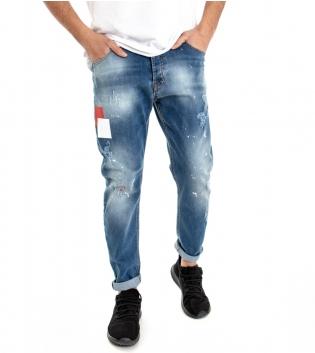 Pantalone Cinque Tasche Uomo Jeans Denim Macchie Di Pittura Stampa Rotture GIOSAL-Denim-42