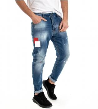 Pantalone Cinque Tasche Uomo Jeans Denim Macchie Di Pittura Stampa Rotture GIOSAL