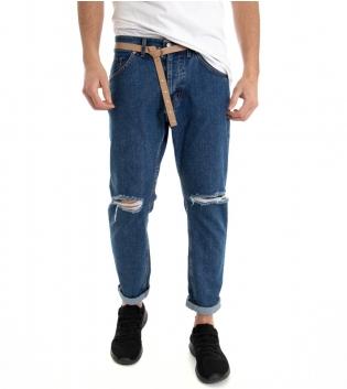 Jeans Denim Uomo Pantalone Cinque Tasche Con Cinta Rotture Cotone GIOSAL-Denim-42