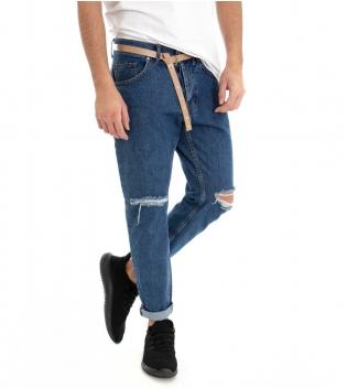 Jeans Denim Uomo Pantalone Cinque Tasche Con Cinta Rotture Cotone GIOSAL