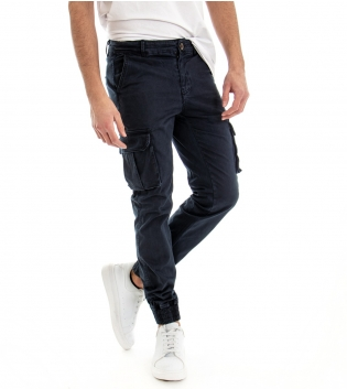 Pantalone Uomo Modello Cargo Tinta Unita Blu Tasca America Tasche Laterali GIOSAL