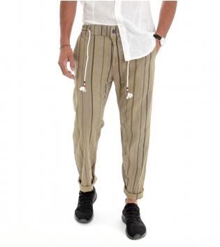 Pantalone Uomo Lungo Cotone Lino Righe Rigato Beige Casual GIOSAL